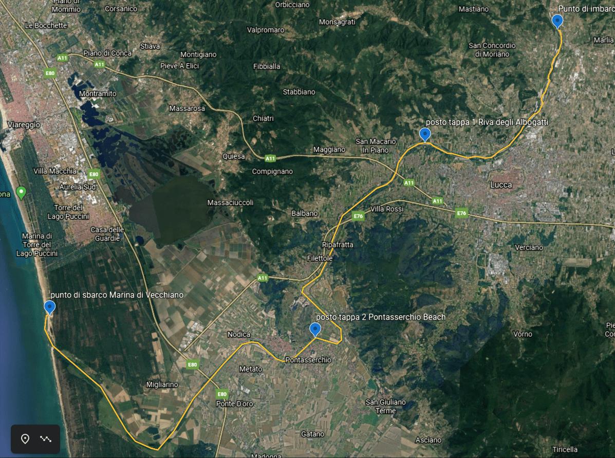 mappa del percorso da Ponte a Moriano a Marina di Vecchiano